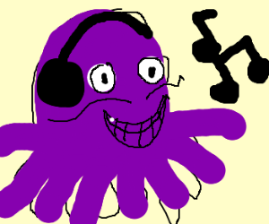 Octopus listens to music