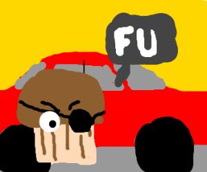 Muffin trash talks to car