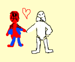 Spiderman + clone in love holding hands