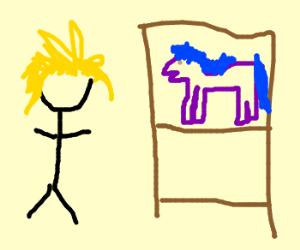 Blonde guy with pony toys on shelf
