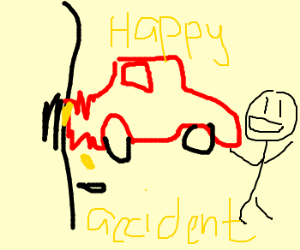 """Car crasher says it's """"a happy accident"""""""
