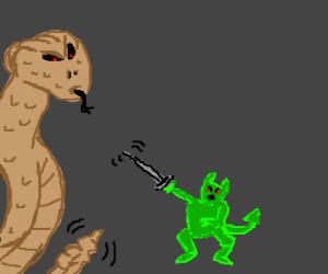 giant rattlesnake fights green devil
