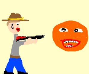 Man with lip stick shoots annoyin orange