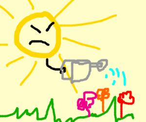 The sun angrily tends to his garden