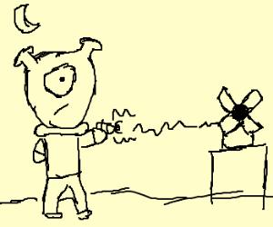 Alien shoots laser gun at windmill
