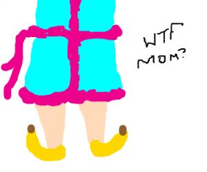 Mom wearing banana shoes