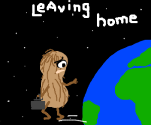 peanut leaving earth takes one last look