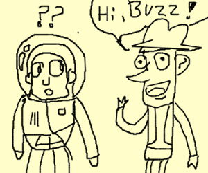 Woody (from Toy Story) says hi to Buzz