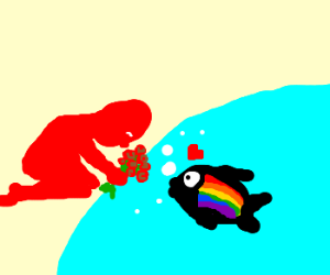 Red man giving roses to a gay fish