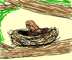 A tiny Alien emerges from a bird's nest.
