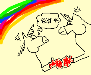 Angry Unicorns fight under a rainbow