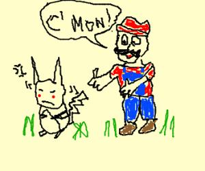 Pikachu won't walk with Mario