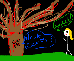 Tree of doom offers candy