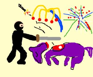 ninja kills ponies to make fireworks