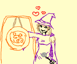 purple wizard girl in love with gong
