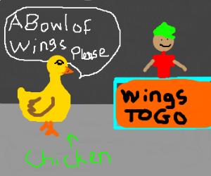 Chicken orders bowl of fried wings