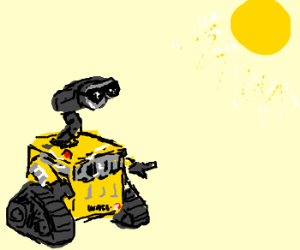 Wall-E is now yellow and enjoys the sun.