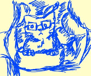 Cat in bowl wears glasses in the forest