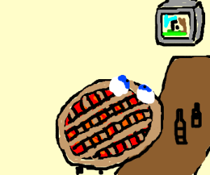 Pie in a bar watching tv