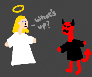 An angel asks what's puzzling a devil