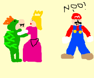 peach cheats on mario with bowser