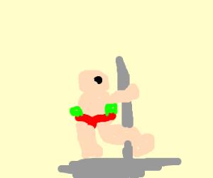 Awkward fat man at stripper club