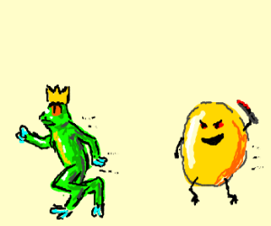 Frog king is chased by egg yolk