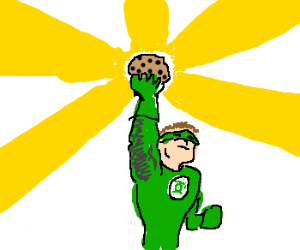 Green Lantern conjures up a cookie