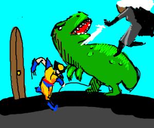 The X-Men fight a dinosaur near a door