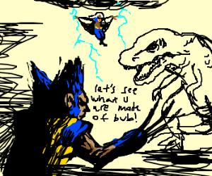 Wolverine & Storm vs Dinosaur
