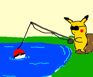 Pikachu fishing