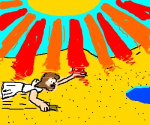 Bum in desert crawls to water, sothirsty