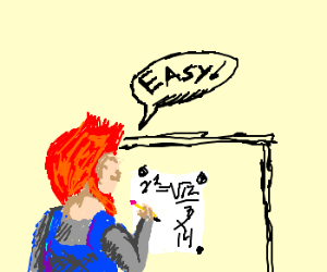 Redhead gnome solving complex math