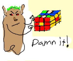 Angry Troll Plays Rubik's Cube