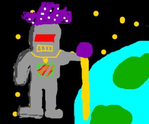 Robo-pimp reenters Earth's atmosphere.