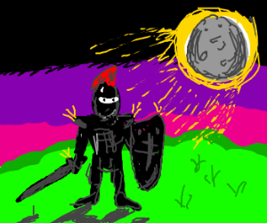 Black knight basks in the light of moon