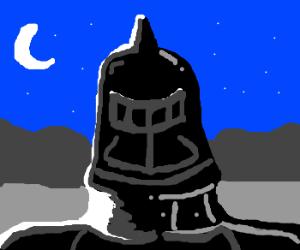Black knight shining in moonlight