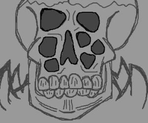 Skull spider wants to eat human.