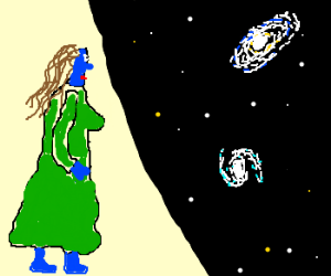 A blue woman stares up at the universe.