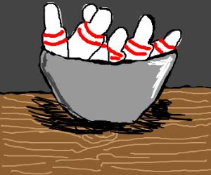 bowl of bowling pins