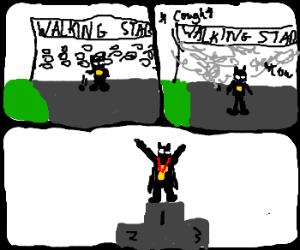batman gets gold in olympic speed walk
