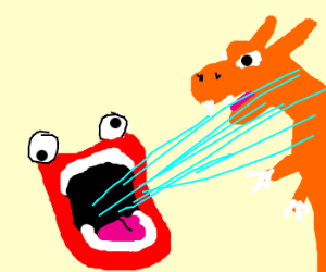 Charizard being extinguished by laser