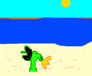 Baby dragon has fun at the beach.