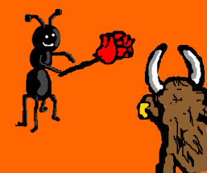 Ant-Man courting bull with roses