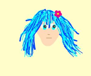Blue headed anime girl poked her butt