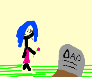 Sad blue haired girl with pink flower