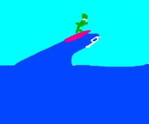 Kermit goes surfing!