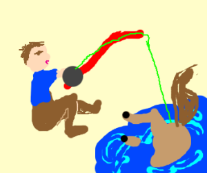 Fisherman's pulling a horse out of water