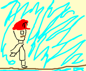 Mario walking a tight rope