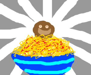happy meatball on top of spaghetti